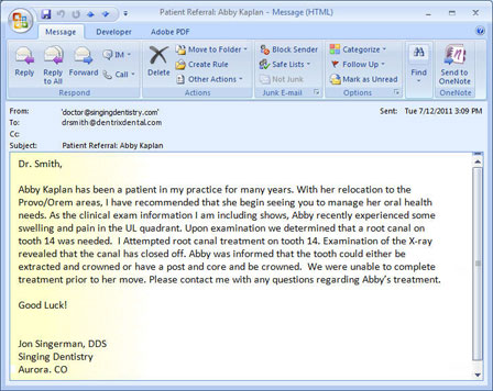 Dentrix message