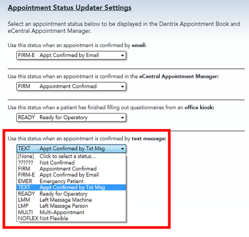 Appointment Status Updater Settings