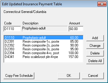 Edit Updated Insurance Payment Table