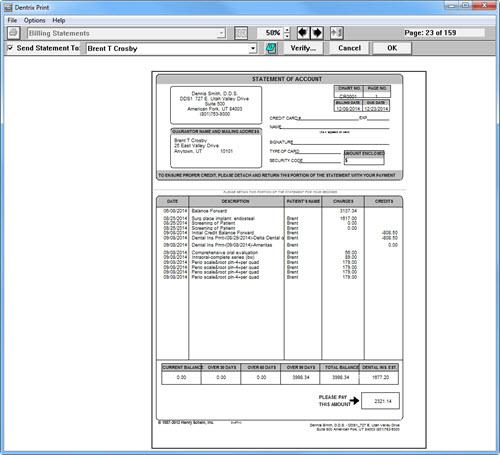 verifying billing statements to send dentrix