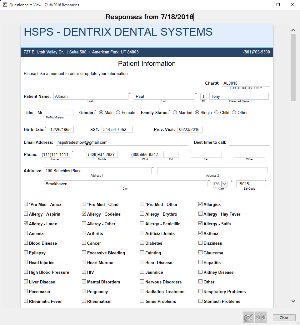 Dentrix G6.2 Questionaire View