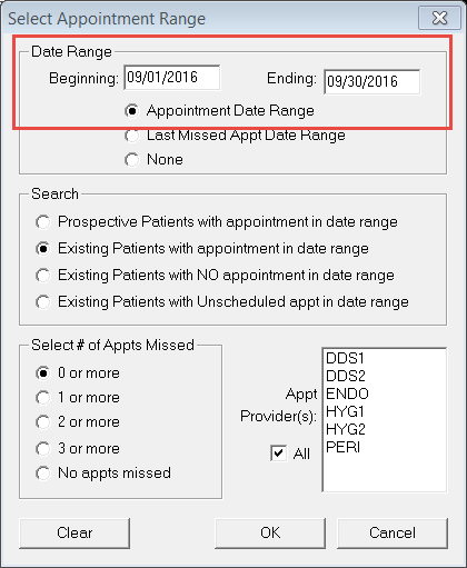 click the appointments search button the select appointment range dialog box appears